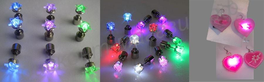 Светящиеся серьги-гвоздики LED
