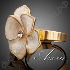 Кольцо Flower Ring Austrian Crystal Adjustable 18K Real Gold Plated