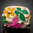 Кольцо Flower and Butterfly Oil Painting Pattern Ring 18K Real Gold Plated