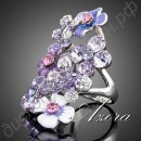 Кольцо Multicolour Flower Design Ring Platinum Plated SWA ELEMENTS Gorgeous Austrian Crystal