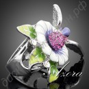 Кольцо Bird In the Flowers Design Ring Platinum Plated SWA ELEMENTS Austrian Crystal