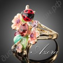 Кольцо Multicolour Insects and Flower Ring 18K Real Gold Plated SWA ELEMENTS Austrian Crystal