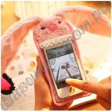Чехол плюшевый на телефон (смартфон, айфон, самсунг) в виде зайчика (кролика)