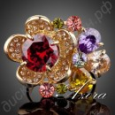 Кольцо Gorgeous Flower 18K Gold Plated Multicolour SWA ELEMENTS Austrian Crystal Adjustable Size Ring