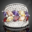 Кольцо Multicolour Water Drop Cubic Zirconia Ring Platinum Plated SWA ELEMENTS Austrian Crystal Multicolour