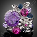 Кольцо Flower Ring Unique Design Platinum Plated Multicolor SWA ELEMENTS Austrian Crystal
