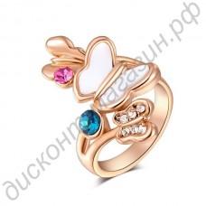 Кольцо 18K Rose Gold Plate Double Color Butterfly Diamond Ring