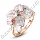 Кольцо Trendy Party Style 18K Rose Gold Plated SWA ELEMENTS Austrian Crystal White Flowers