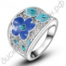 Кольцо Fashion Elegant 18K Real Gold Plated SWA ELEMENTS Austrian Crystal Blue Plum Blossom Flower