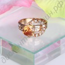Кольцо Inlay zircon ring 18 k rose gold with zircons hand act the role