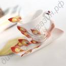 Изысканный набор (кружка, блюдце, ложечка) в виде фарфорового павлина
