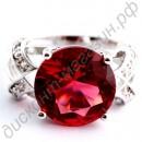 Кольцо с красным граненым турмалином