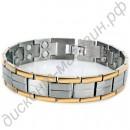 Стальной турмалиновый браслет с позолоченной каймой